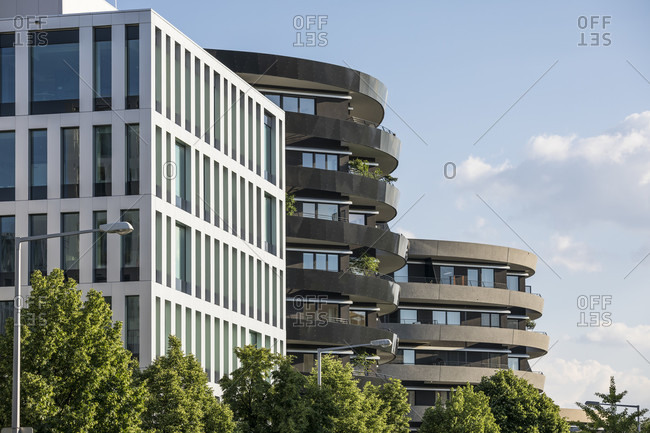 "May 27, 2020: Modern buildings in district zwei, view from the office building ""denk drei"" to the apartment buildings ""rondo"", 2nd district, leopoldstadt, vienna, austria, may 2020"