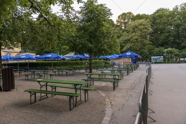 May 19, 2020: Beer garden, chinese tower, munich, english garden, end of lockdown, distance,