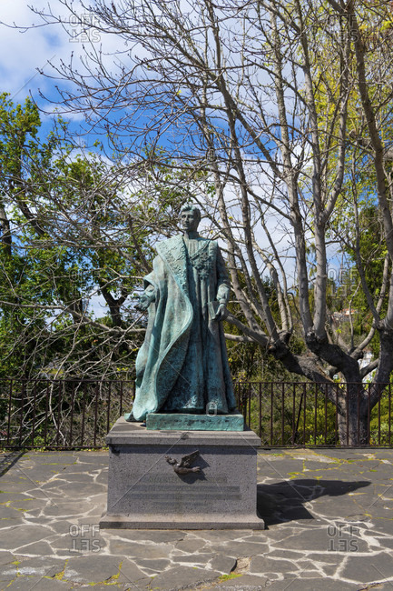 March 7, 2020: On the monte in funchal, to see the bronze statue of emperor karl v. austria. funchal, madeira, portugal