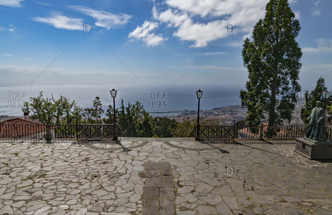 March 7, 2020: On the monte in funchal, view of the atlantic and funchal, madeira, portugal
