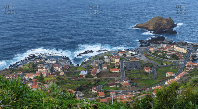 View of porto moniz, with well-known natural swimming pools, maderia, portugal