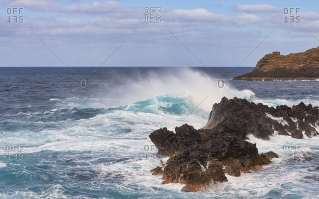 Atlantic ocean at porto moniz, madeira, portugal