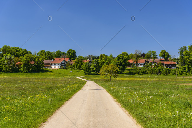 Germany, bavaria, upper bavaria, tiler land, dietramszell, berg district, spring landscape with town view