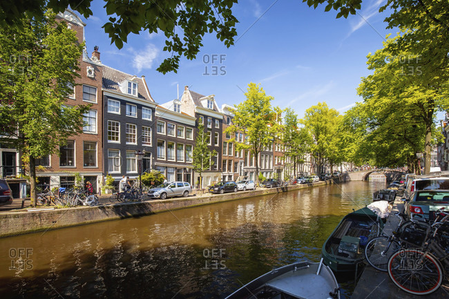 August 25, 2016: Canals of amsterdam, the netherlands in summer