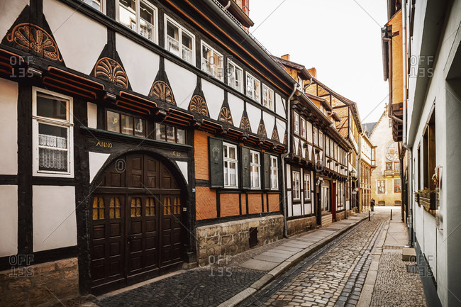 February 18, 2018: Quedlinburg in the harz mountains, saxony-anhalt, germany