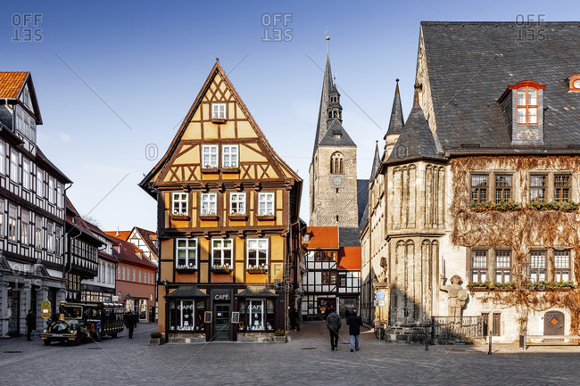 February 18, 2018: Market square in quedlinburg in the harz mountains, saxony-anhalt, germany