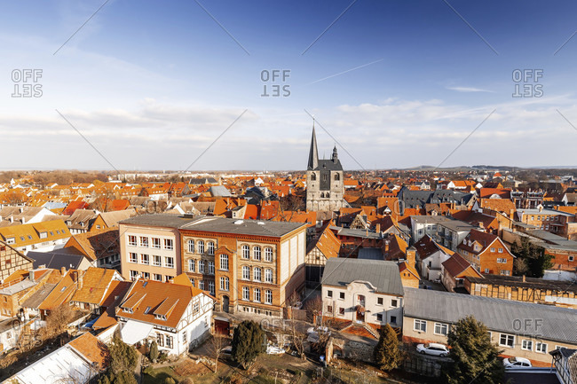 Quedlinburg in the harz mountains from above, saxony-anhalt, germany