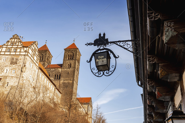 February 18, 2018: Quedlinburg castle in the harz mountains, saxony-anhalt, germany