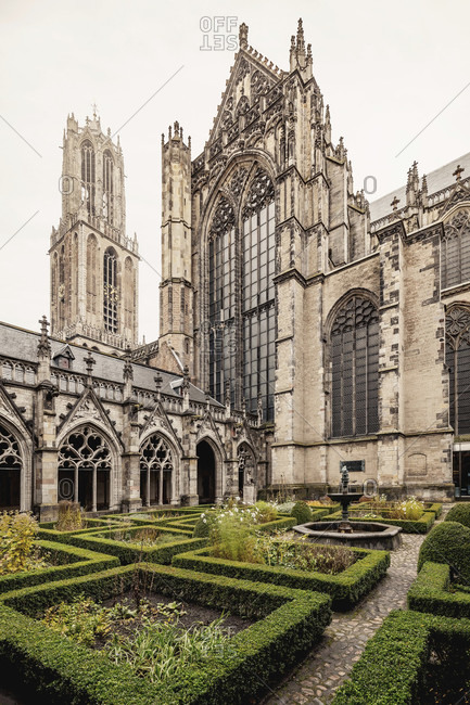 October 20, 2015: Courtyard of utrecht cathedral, the netherlands