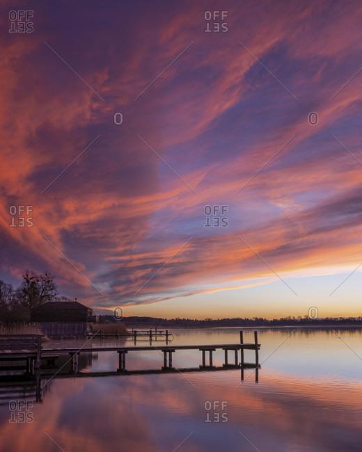 Sunrise at lake chiemsee at dusk