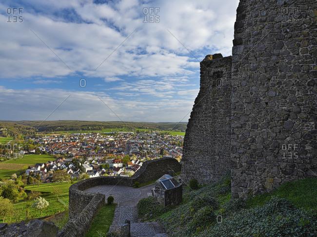 Europe, germany, hesse, wettenberg, giessener land, lahn-dill-kreis, lahn-dill-bergland nature park, gleiberg castle, view of wettenberg