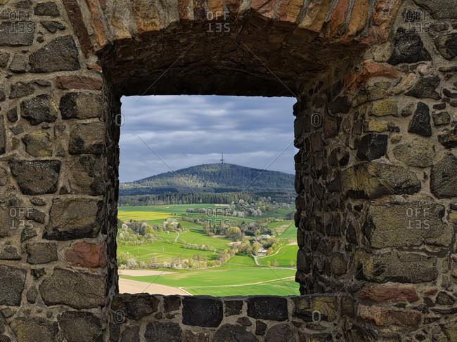 Europe, germany, hesse, wettenberg, giessener land, lahn-dill-kreis, lahn-dill-bergland nature park, gleiberg castle, view of vetzberg castle
