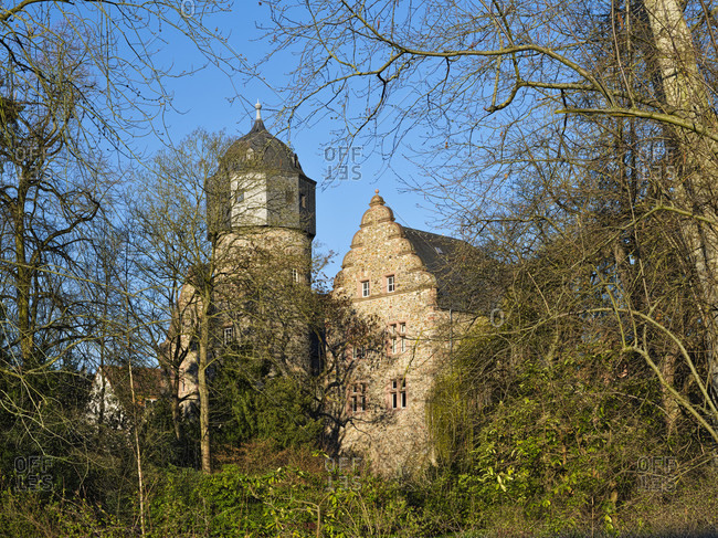 Europe, germany, hesse, giessener land, city of giessen, old castle at the botanical garden