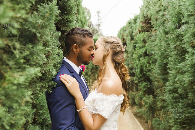 Wedding, newlyweds, young adults, diversity, love, garden, hedge, kissing