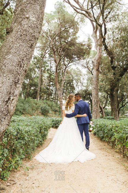 Wedding, newlyweds, hugging, diversity, love, garden, park