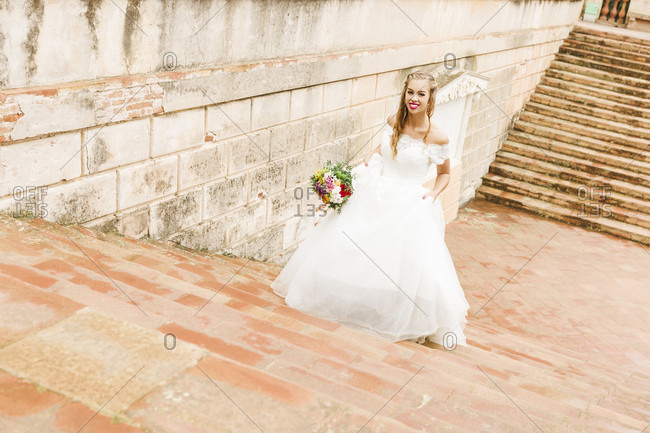 Bride, wedding, garden, young woman, wedding dress, stairs, smile, hurry