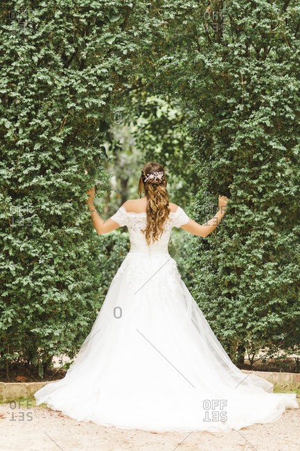 Bride, wedding, pergola, young woman, wedding dress, back, ajar
