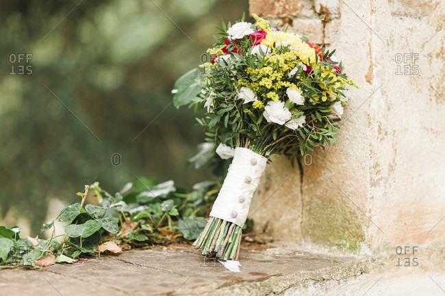 Wedding, bridal bouquet, flowers, decoration, landscape format, wall