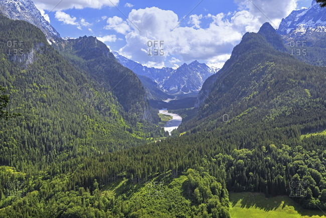 View from the brine pipeline path into the wimbachtal with wimbachgries and palfelhorn (2222m), ramsau near berchtesgaden, berchtesgaden national park, berchtesgadener land, upper bavaria, bavaria, germany