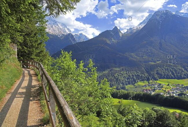 Brine pipeline route against watzmann (2713m) and hochkalter (2607m), ramsau near berchtesgaden, berchtesgadener land, upper bavaria, bavaria, germany