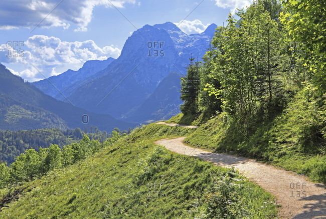 Brine pipeline route against the reiteralpe (2286m), ramsau bei berchtesgaden, berchtesgadener land, upper bavaria, bavaria, germany