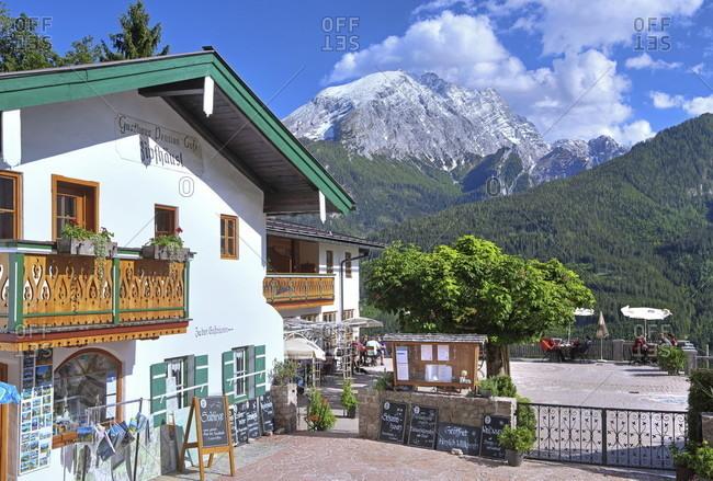 June 2, 2020: Berggasthaus ziphiids on the brine line against the watzmann (2713m), ramsau near berchtesgaden, berchtesgadener land, upper bavaria, bavaria, germany