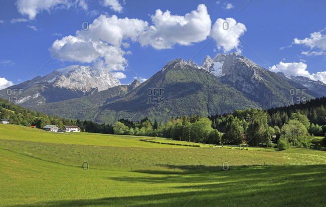 Watzmann (2713m) and hochkalter (2607m), ramsau bei berchtesgaden, berchtesgadener land, upper bavaria, bavaria, germany