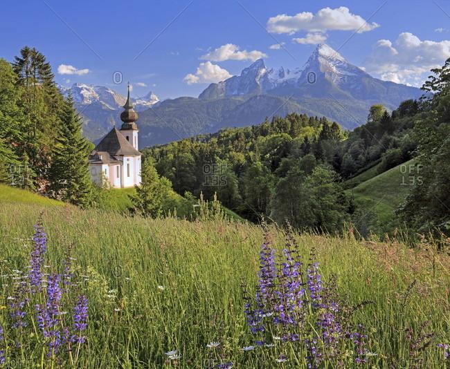 Pilgrimage church maria gern against the watzmann (2713m), berchtesgaden, berchtesgadener land, upper bavaria, bavaria, germany