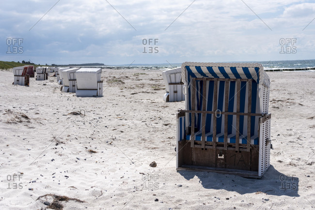 Beach chairs on the island of hiddensee