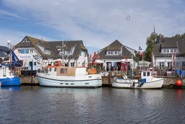 June 5, 2020: Germany, mecklenburg-west pomerania, hiddensee, fishing village vitte, harbor with fishing boats