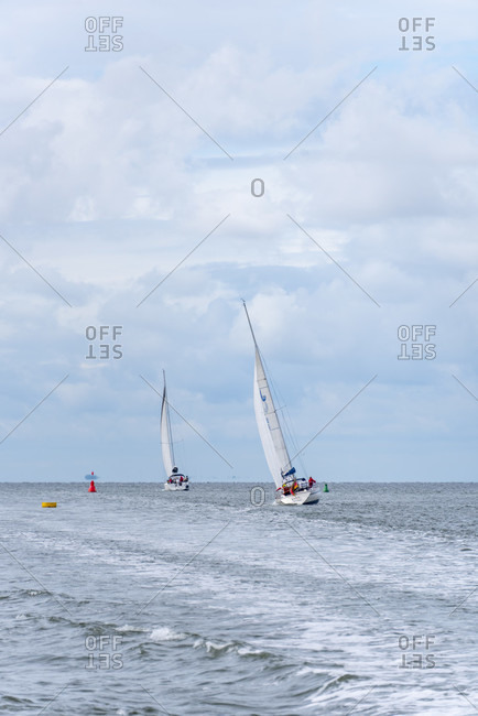 Sailing boats on the way to hiddensee