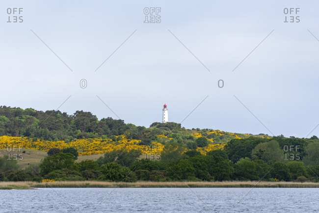 Hiddensee, lighthouse, glowing in yellow