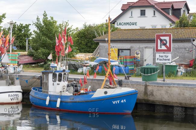 June 6, 2020: Germany, mecklenburg-west pomerania, hiddensee, fishing boat, vitte harbor.