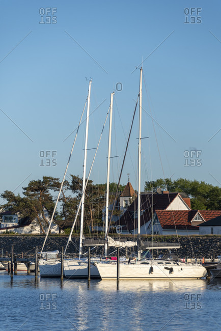 June 6, 2020: Germany, mecklenburg-west pomerania, hiddensee, sailing boats, vitte harbor.