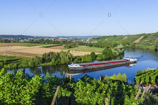 Germany, baden-wurttemberg, kirchheim, neckar, river boat