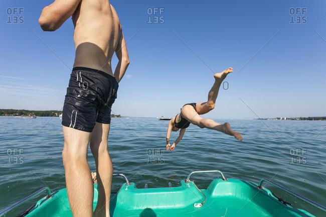 Lake, bathing lake, lake constance, person, jump, water