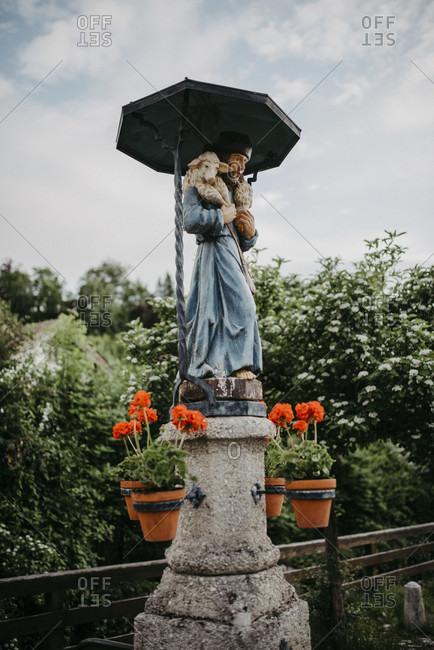 May 31, 2020: Fountain with a shepherd figure, walk through partenkirchen