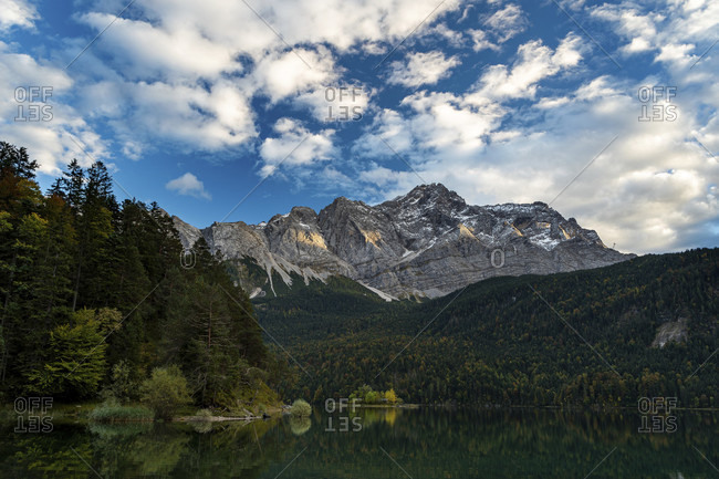 On the banks of the eibsee with zugspitze in the background