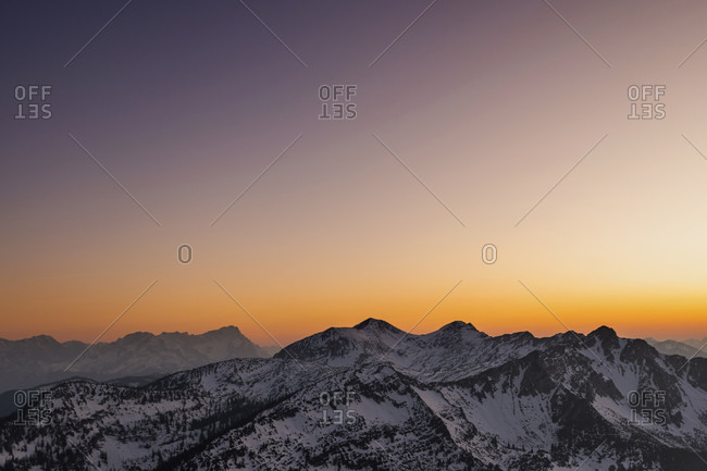 View from simetsberg over the ester mountains with krottenkopf etc. to the zugspitze