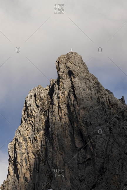 The viererspitze above mittenwald in the karwendel mountains in the evening grazing light