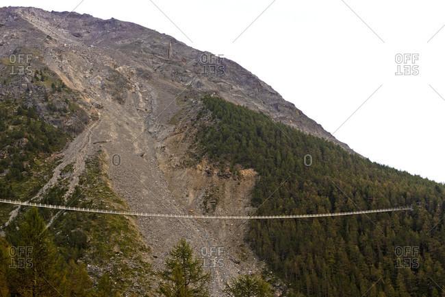 Charles kuonen suspension bridge, longest pedestrian suspension bridge in the world, randa, valais, switzerland