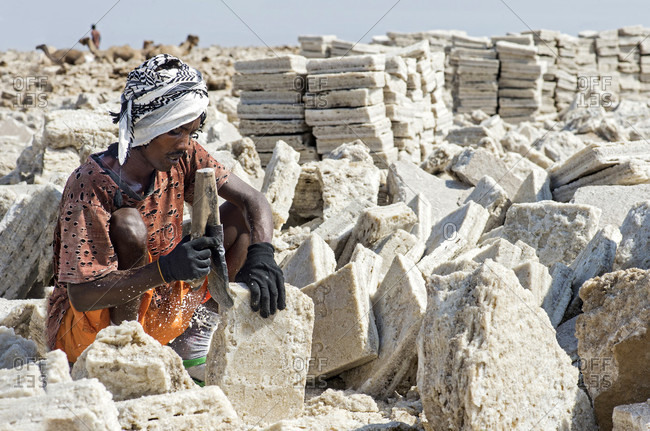 November 14, 2017: Local man cuts blocks of salt in a salt quarry at assale salt lake, danakil depression, afar region, ethiopia