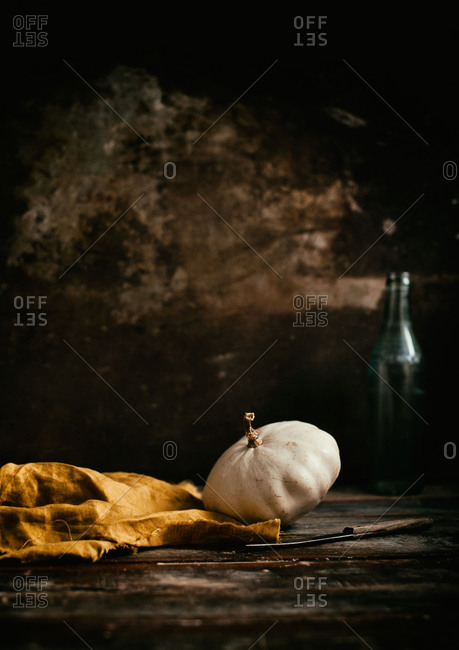 One little white pattypan squash in a rusty setting