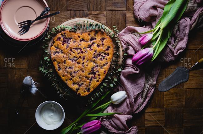Cranberry yogurt cake baked in heart shaped mold