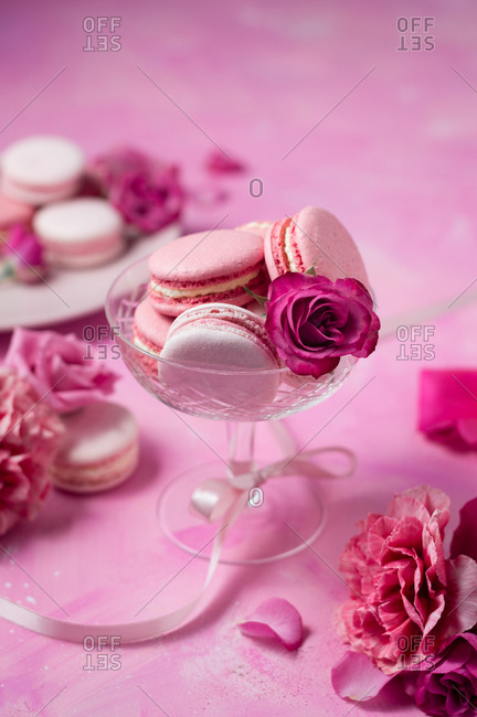 French pinkish macarons in coupe glass