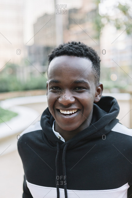 Portrait of a smiling black man smiling at camera