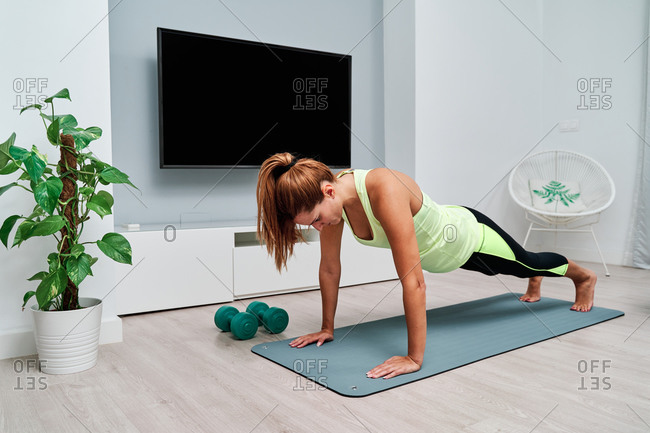 Side view of slim focused female stretching body and doing yoga in plank pose while doing yoga on mat at home