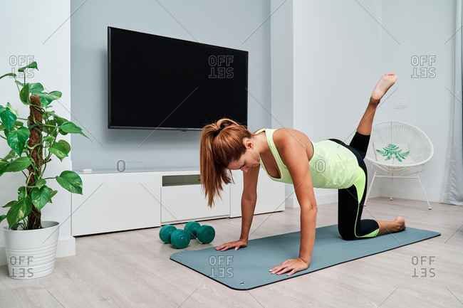 Focused female in sportswear balancing in Cakravakasana on mat while doing yoga at home at weekend