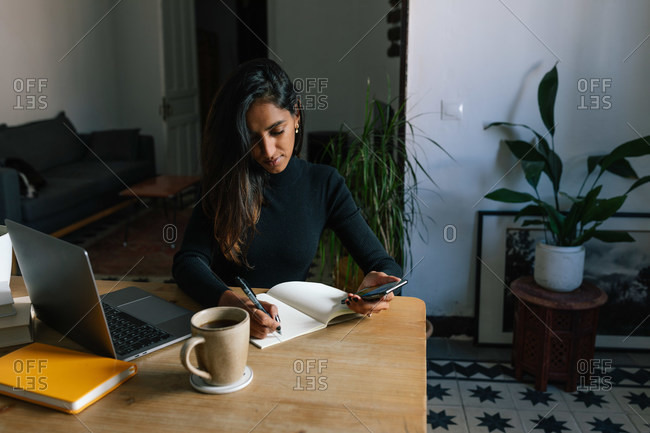 Indian female entrepreneur sitting at table and writing plans in notebook while working at home in cozy workplace