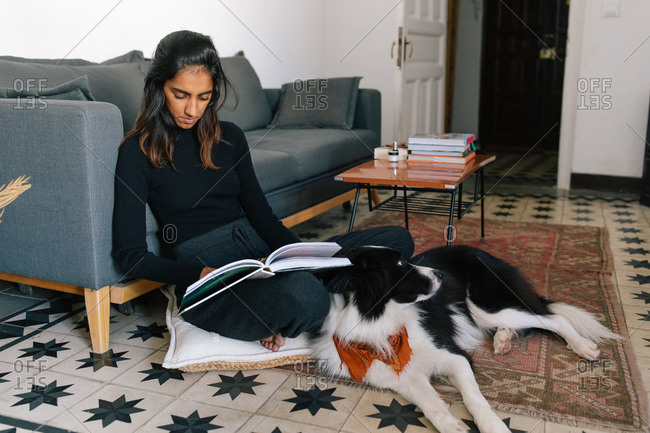 Thoughtful Indian female reading interesting story in book and sitting on floor with fluffy friendly Border Collie dog